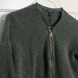 Express green sweater with gold zipper